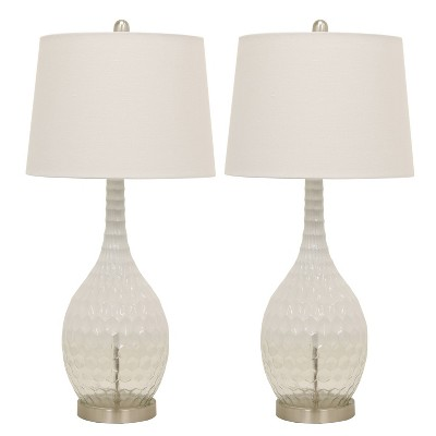 (Set of 2)Fletcher Glass Genie Table Lamps Clear (Lamp Only)- Decor Therapy