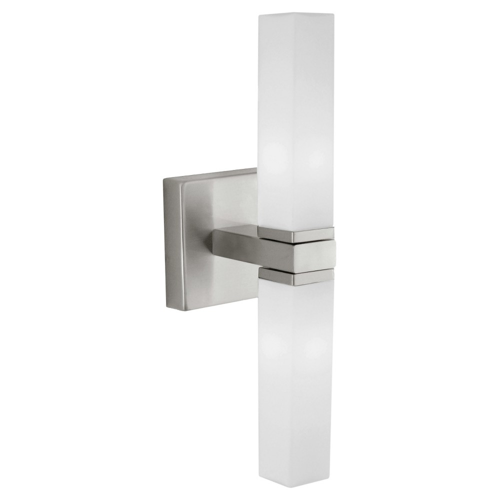 "Image of ""Palermo Vanity Wall Light 13"""" Matte Nickel - Eglo"""
