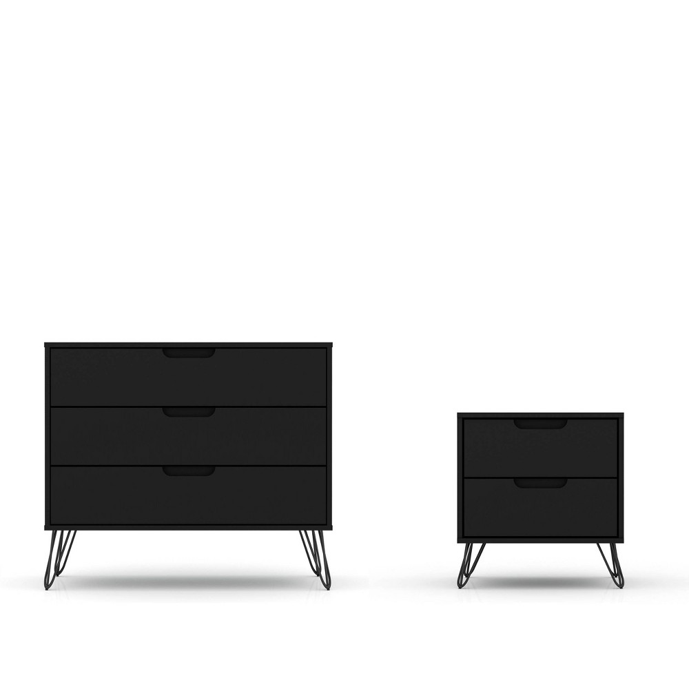 Image of Rockefeller Dresser and Nightstand Set Black - Manhattan Comfort