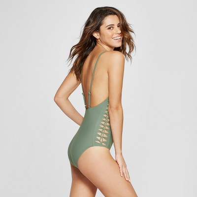 30c32c4b233 Womens Woven Side Scoop One Piece Swimsuit – Xhilaration™ Olive XS ...