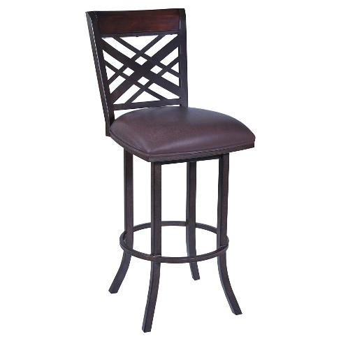 "26"" Tahiti Faux Leather Counter Stool - Brown - Armen Living - image 1 of 5"
