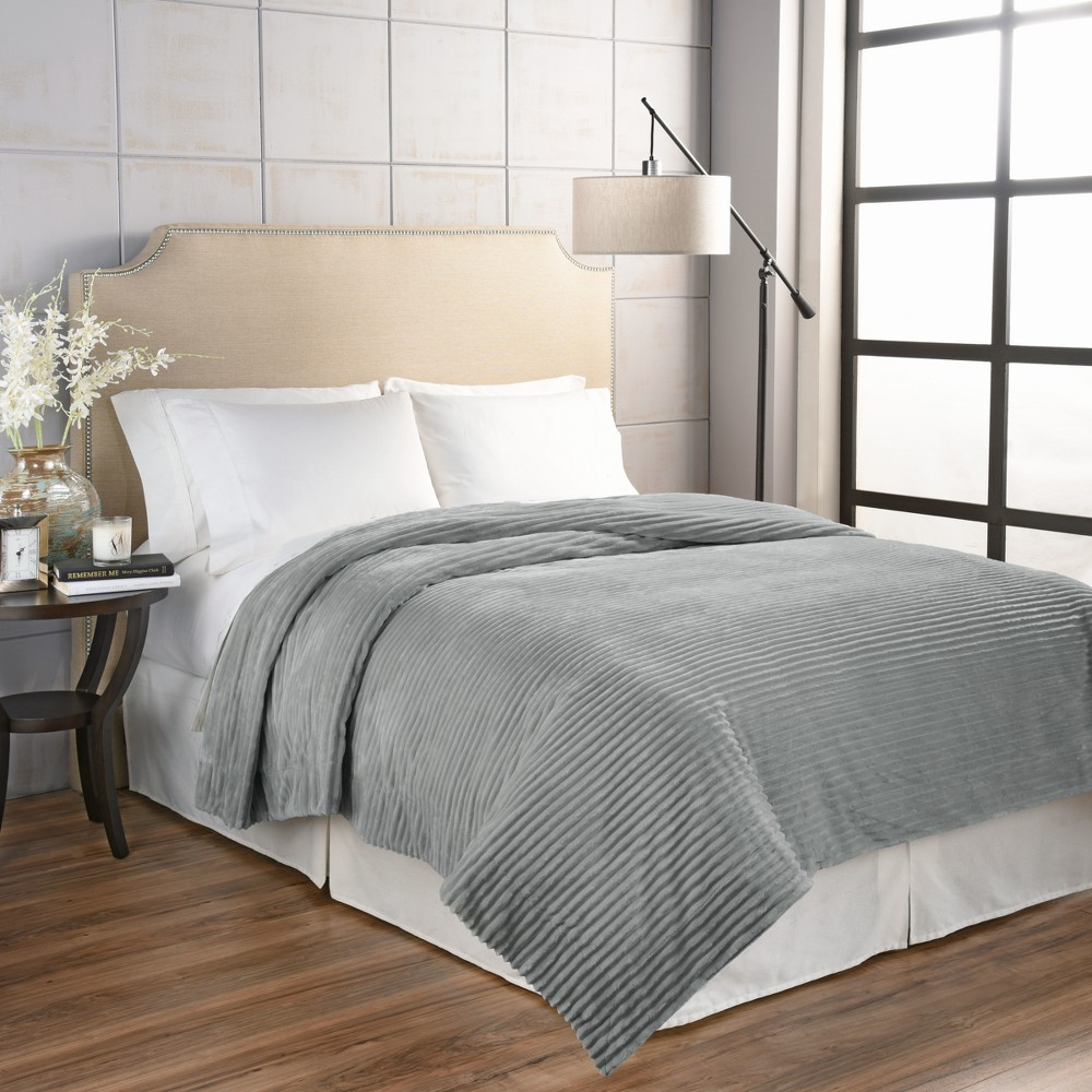 Giverny Anti Microbial Blanket (King) Gray - Beautyrest