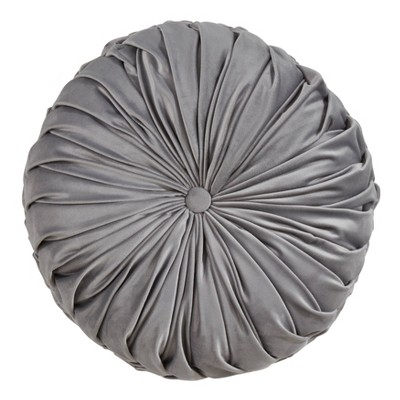 """14"""" Round Velvet Pintucked Poly Filled Throw Pillow Gray - Saro Lifestyle"""