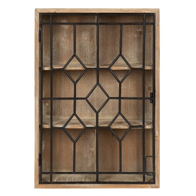 Megara Decorative Wooden Wall Hanging Curio Cabinet Rustic Brown - Kate & Laurel All Things Decor