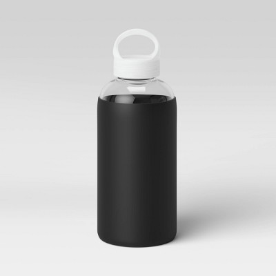18oz Borocilicate Glass Water Bottle with PP Lid and Silicone Sleeve Black - Room Essentials™