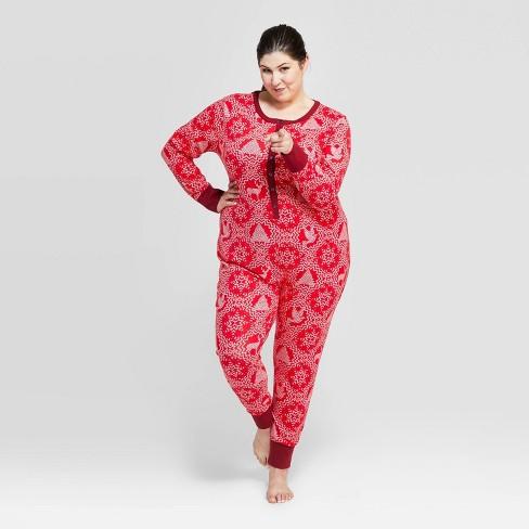 Women's Plus Size Holiday Snowflake Bodysuit Pajama - Hearth & Hand™ with Magnolia - image 1 of 4