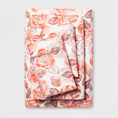 Cotton Percale Print Sheet Set (Queen)Coral Rose - Opalhouse™