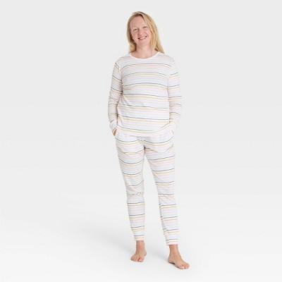 Women's Pastel Striped 100% Cotton Matching Family Pajama Set - Cream