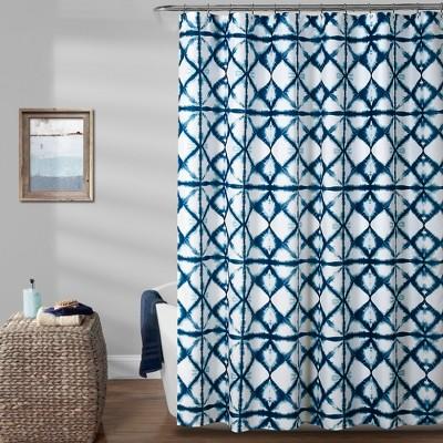Geo Shibori Shower Curtain Navy - Lush Décor