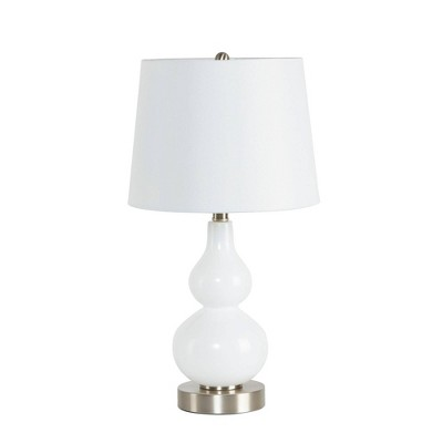 """22.5"""" Reese Glass Gourd Silverwood Table Lamp Milk Glass (Includes LED Light Bulb)Silver - Decor Therapy"""
