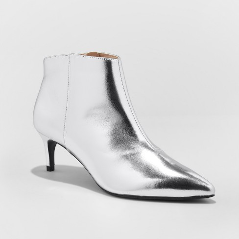 cd74c8c7698 Women's Dominique Pointed Kitten Heel Booties - A New Day™ Silver 9