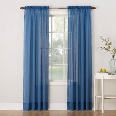 """63""""x51"""" Erica Crushed Sheer Voile Rod Pocket Curtain Panel Blue - No. 918"""
