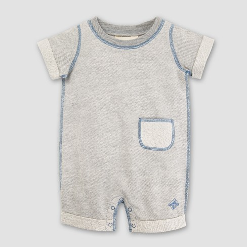 Burt's Bees Baby Boys' Organic Cotton Loose Pique Roll Cuff Shortall - Heather Gray - image 1 of 2