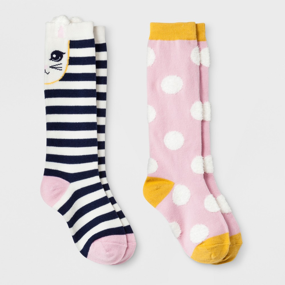 Girls' 2pk Knee High Socks - Cat & Jack Blue S