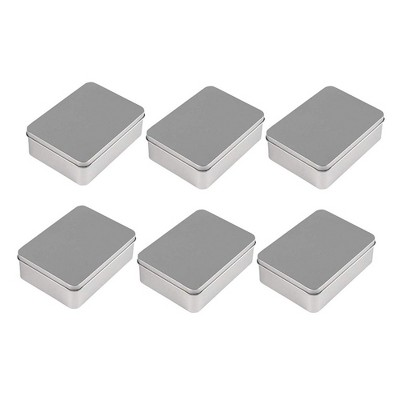 """Juvale 6-Pack Rectangular Tin Gift Box with Lid, Empty Tin Can Storage Containers for Party Favors Treat Candy Cookie, Silver, 4.9""""x3.7""""x1.6"""""""