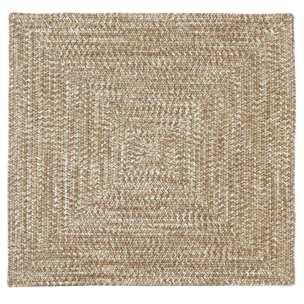 Forest Tweed Braided Square Area Rug Moss Green