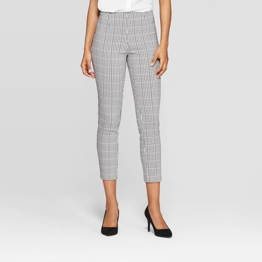 Women's Plaid High-Rise Skinny Pants - A New Day Cream 6, Beige