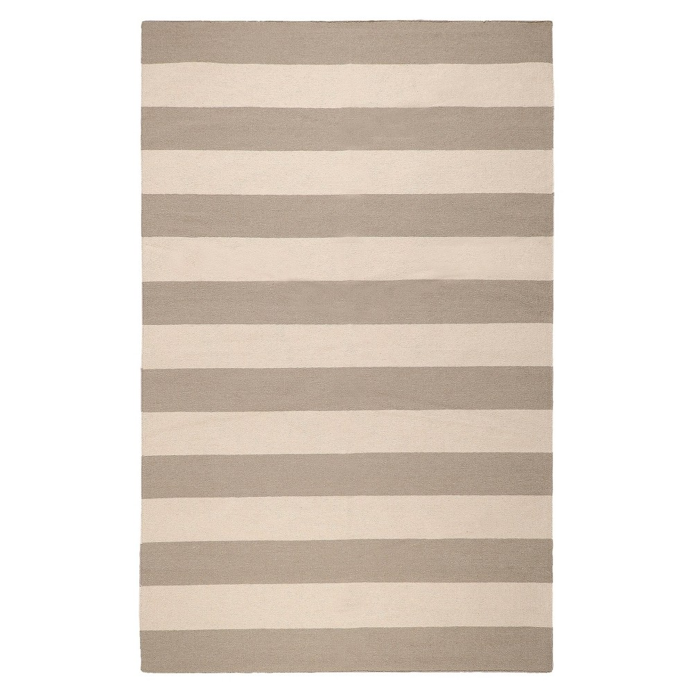 Rugby Stripe Flat Weave Area Rug - Gray (5'x8')