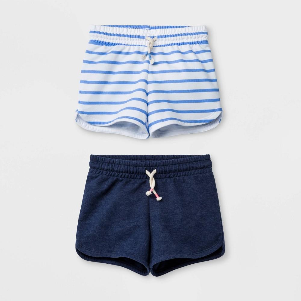 Girls' Knit Pull-On Shorts - Cat & Jack Navy/Blue Stripe L