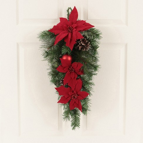 """28"""" Christmas Unlit Red Poinsettia and Ornaments Artificial Pine Swag - Wondershop™ : Target"""