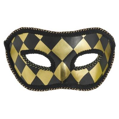 Adult Harlequin Black/Gold Mask Accessory Halloween Costume