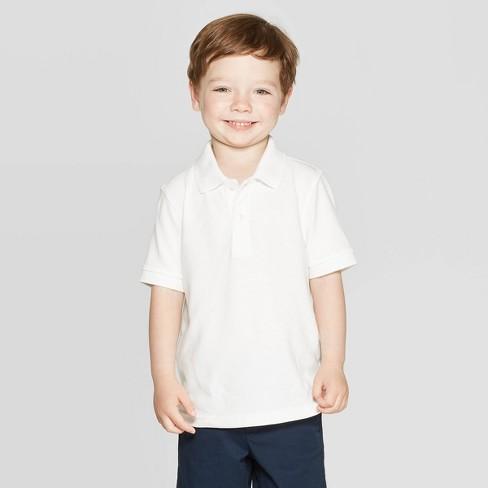 64beecb86 Toddler Boys' Short Sleeve Pique Uniform Polo Shirt - Cat & Jack™ White 3T  : Target