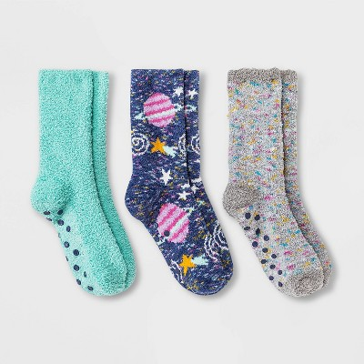 Girls' 3pk Cozy Star Crew Socks - Cat & Jack™ Green/Blue/Gray