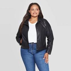 Women's Plus Size Faux Leather Moto Jacket - Ava & Viv™ Black