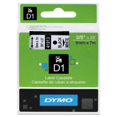 "DYMO D1 High-Performance Polyester Removable Label Tape 3/8"" x 23 ft Black on White 41913"