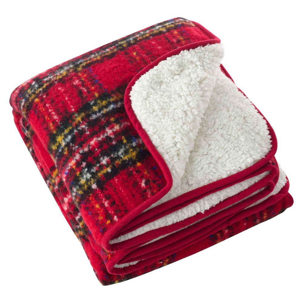 Red Sevan Faux Mohair Design Throw Blankets (50
