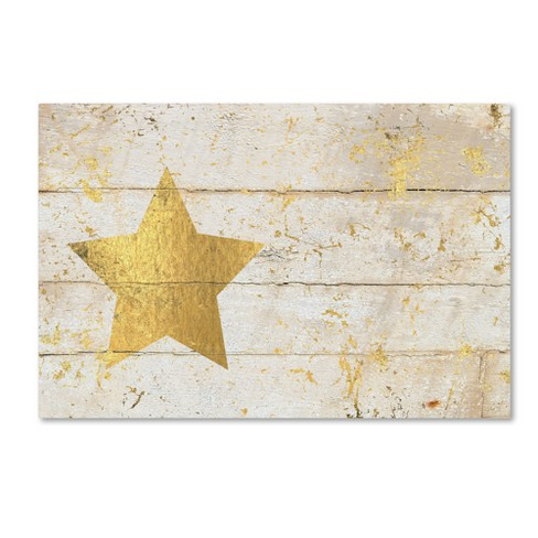 Cora Niele Golden Star on White Wood Unframed Wall Canvas Art - image 1 of 2
