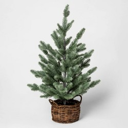 "24"" x 14"" Artificial Christmas Tree in Rattan Pot Green/Brown - Threshold™"