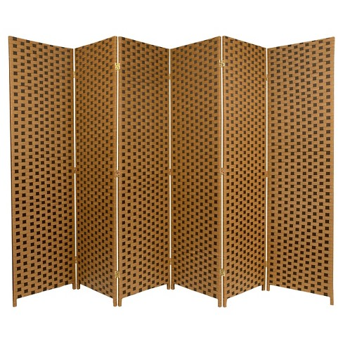 6 ft. Tall Woven Fiber Room Divider Two Tone Brown 6 Panel - Oriental Furniture - image 1 of 1