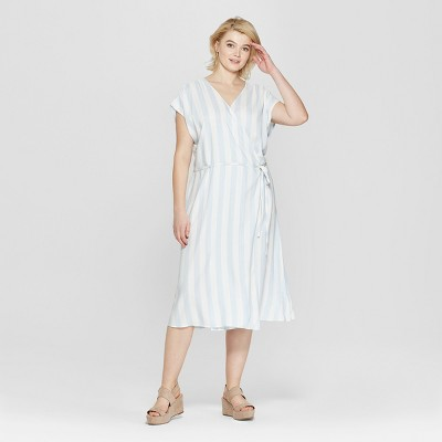 d3010eeca6db3 Women s Plus Size Striped Short Sleeve V-Neck Wrap Midi Dress - Ava   Viv™  Blue White   Target