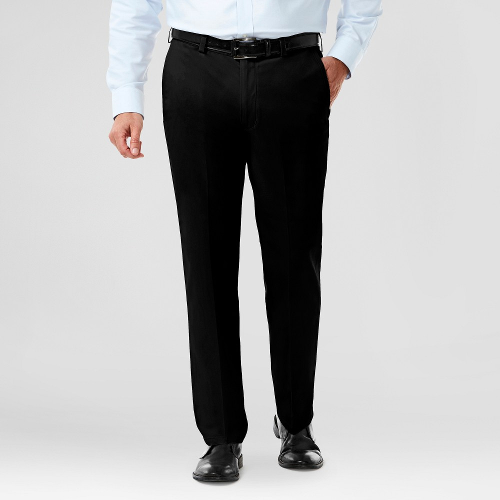 Image of Haggar H26 Men's Big & Tall No Iron Classic Fit Stretch Trouser Pants Black 48x34, Men's