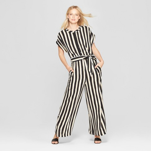 a5885f18a02 Women s Striped Short Sleeve Belted Wide Leg Jumpsuit - Who What ...