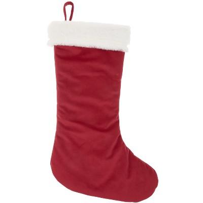 "Medium 17/"" Plush Regency Christmas Holiday Stocking Red White Faux Fur Cuff Soft"