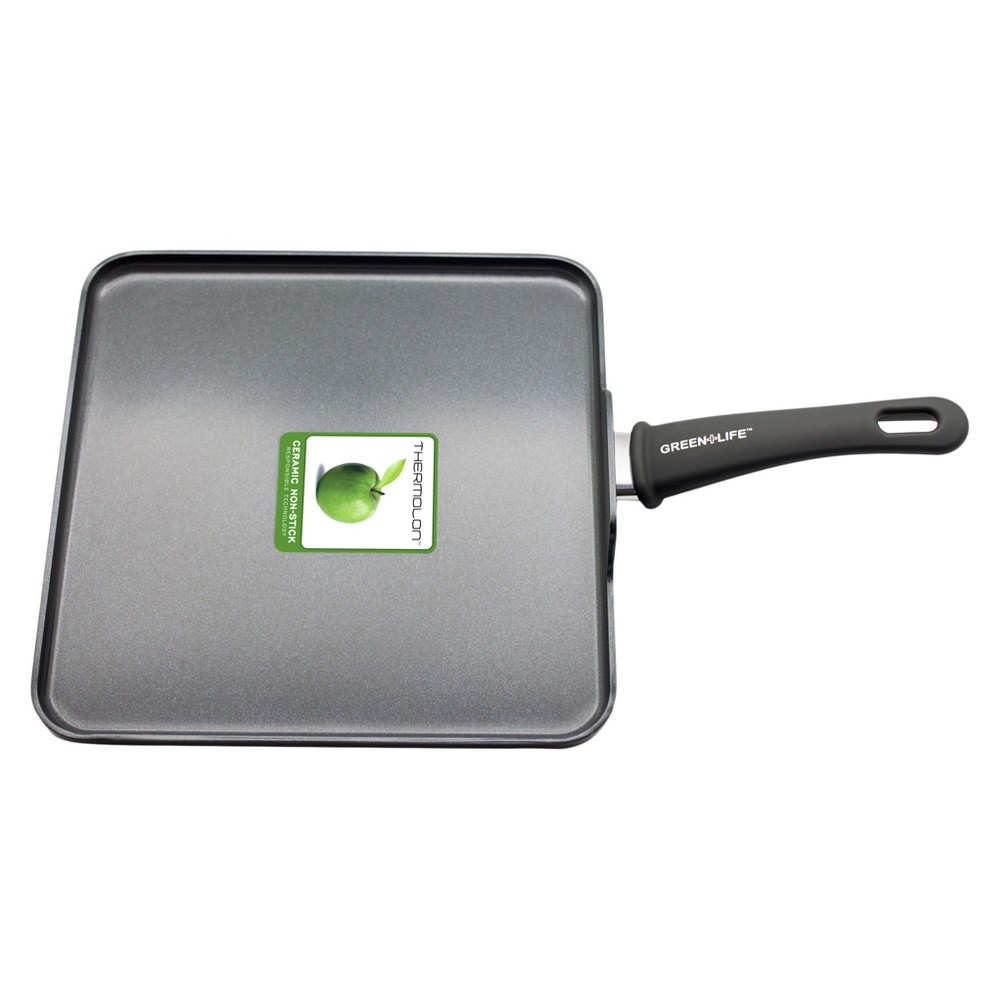 GreenLife Soft Grip Diamond Reinforced 11 Ceramic Non-Stick Square Griddle Pan, Black