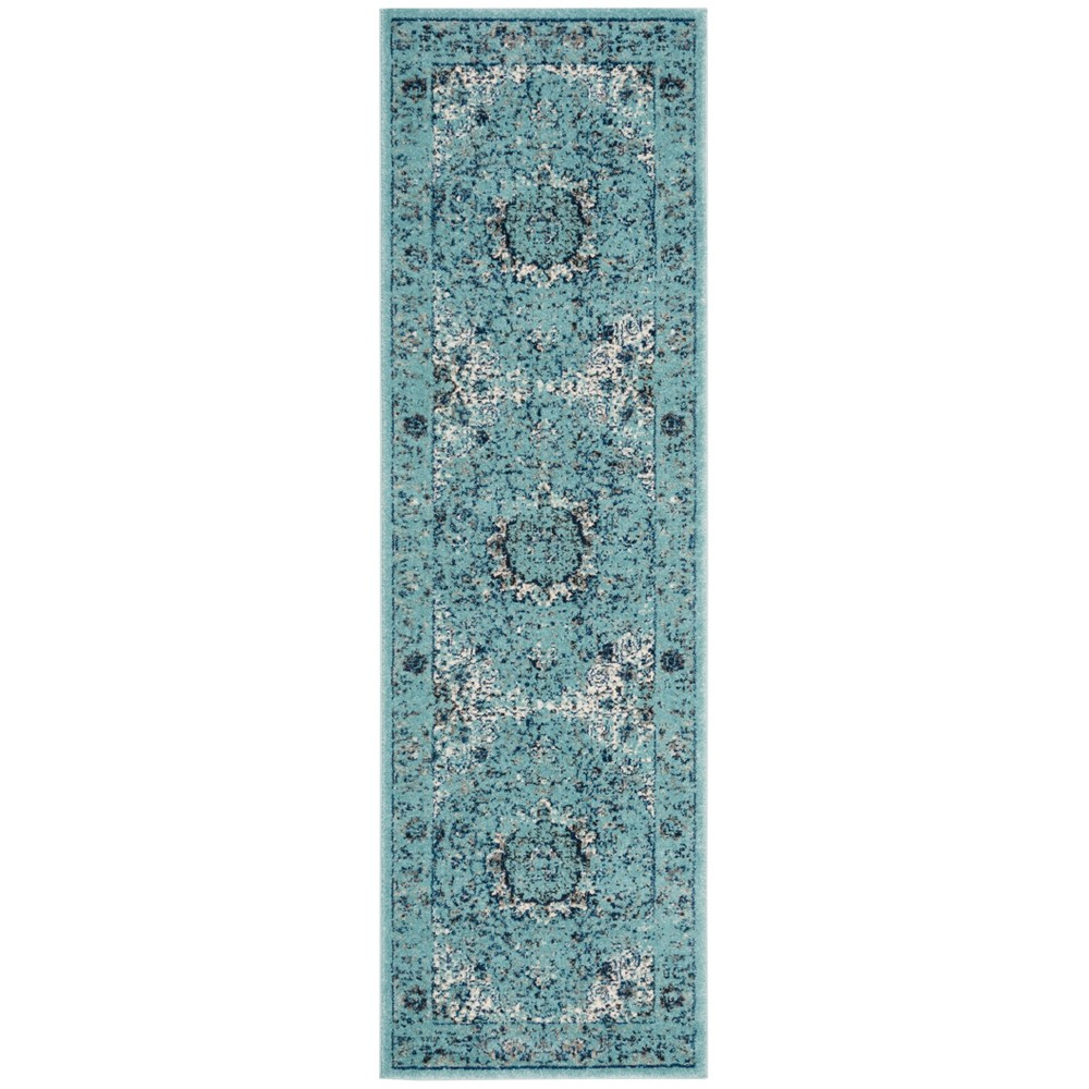 Loomed Medallion Runner Rug Light Blue
