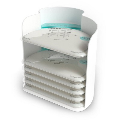 Nanobebe 25 Breast Milk Storage Bags and Organizer - White