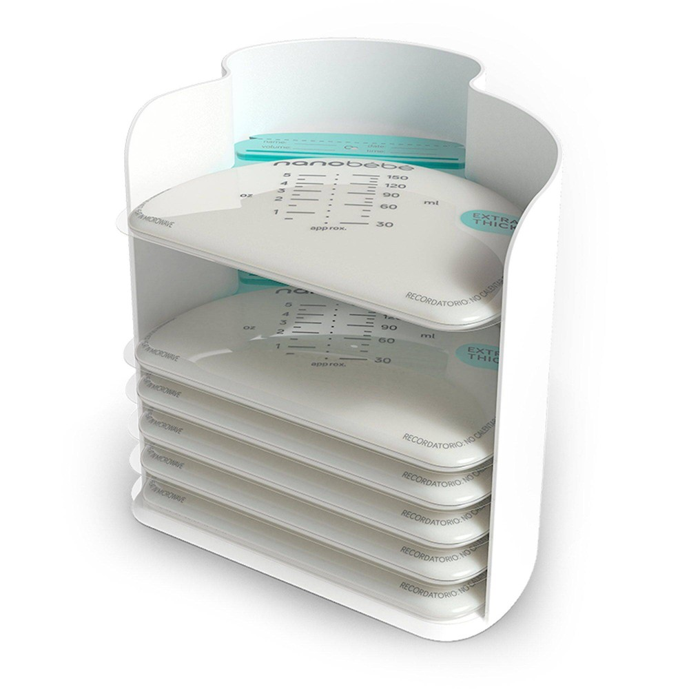 Image of Nanobebe 25 Breast Milk Storage Bags and Organizer - White, Clear
