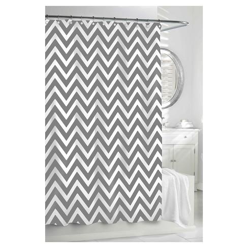 Chevron Shower Curtain Gray White