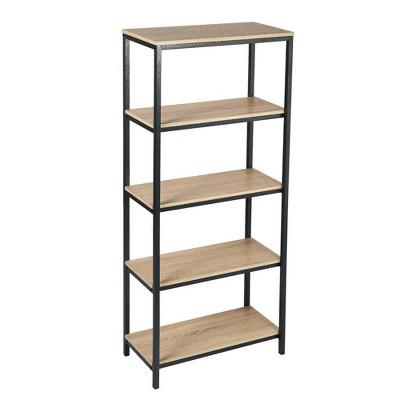"56.8"" 4 Tier Wood and Metal Bookcase Oak Brown/Black - Benzara"