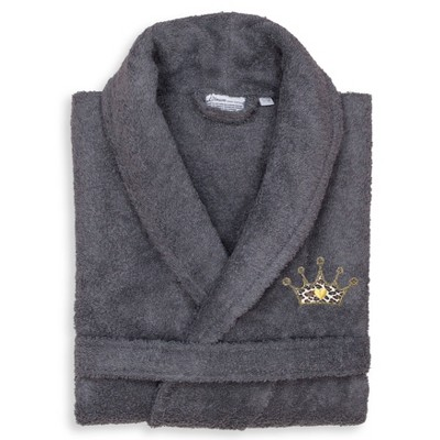 Terry Bathrobe with Cheetah Crown Embroidery - Linum Home Textiles