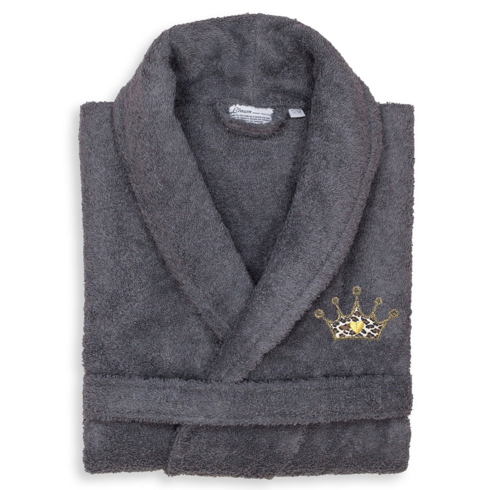 S M Terry Bathrobe With Cheetah Crown Embroidery Gray Linum Home Textiles