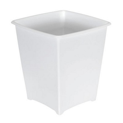 Rubbermaid 8 Quart Traditional Square Top Bedroom, Bathroom, and Office Wastebasket Trash Can, White