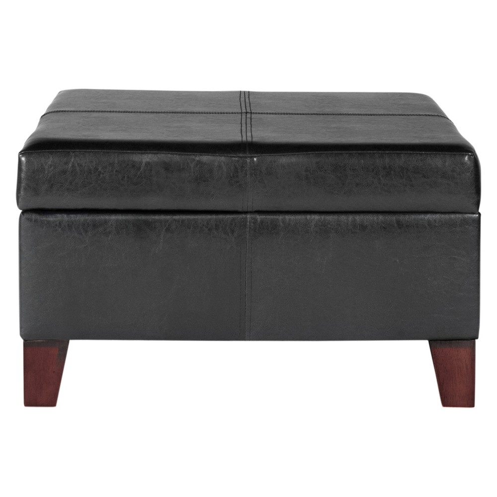 Large Faux Leather Storage Ottoman Black - HomePop was $149.99 now $112.49 (25.0% off)