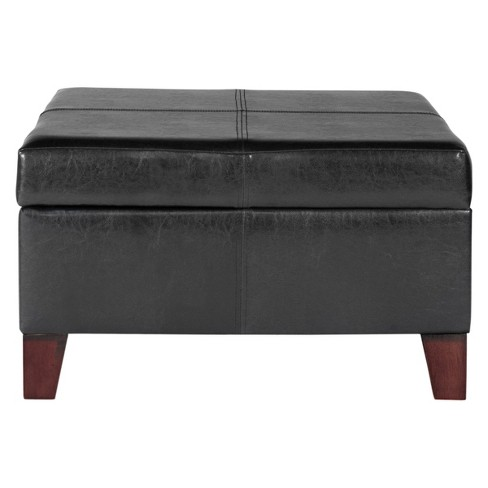Wondrous Large Faux Leather Storage Ottoman Black Homepop Ncnpc Chair Design For Home Ncnpcorg
