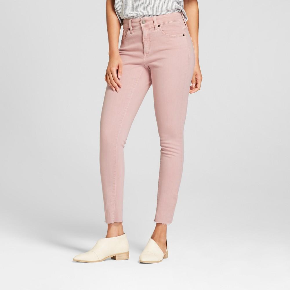Women's High-Rise Raw Hem Skinny Jeans - Universal Thread Pink 6