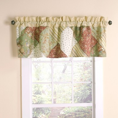Lakeside Patchwork Oakbrook Floral Accent Embroidered Window Valance